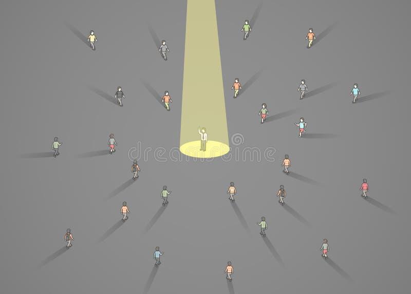 Zakenmanschijnwerper Menselijke hulpbron en rekrutering De bedrijfsmensen huren concept royalty-vrije illustratie
