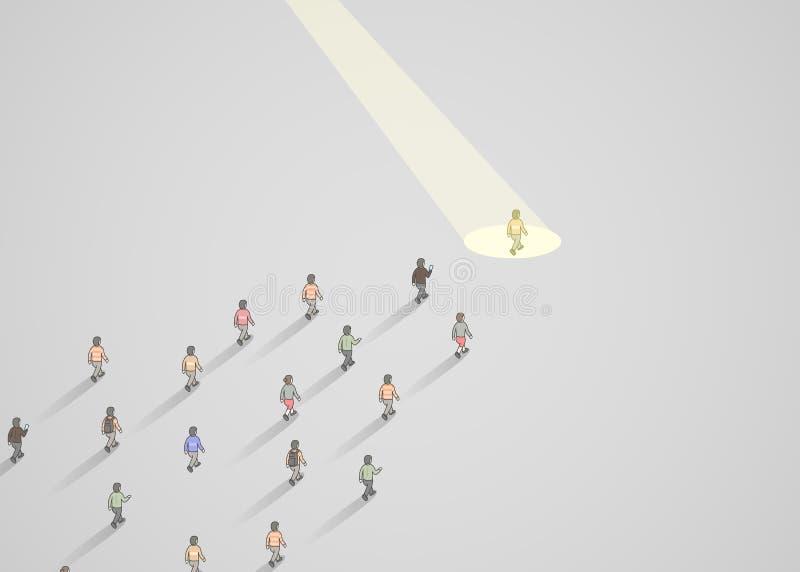 Zakenmanschijnwerper Menselijke hulpbron en rekrutering De bedrijfsmensen huren concept stock illustratie