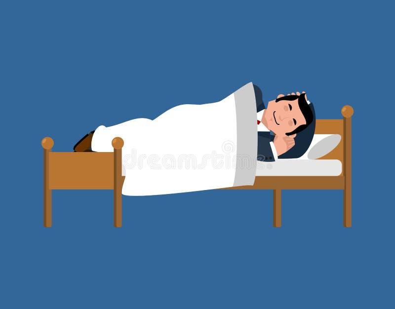 Zakenmanslaap op bed bedrijfsmensenslaap onder deken V vector illustratie