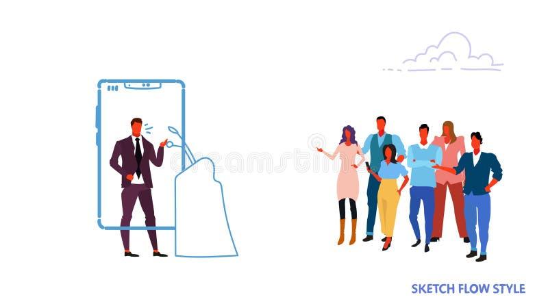 Zakenmanspreker die mobiele toepassing de bedrijfsmens gebruikt die zich bij van de kandidaat tribuneleider online persconferenti stock illustratie