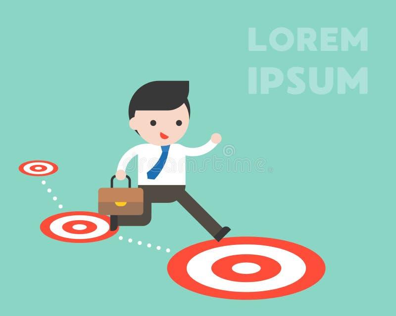 Zakenmansprong aan grotere doelvloer, met succes, uitdaging stock illustratie