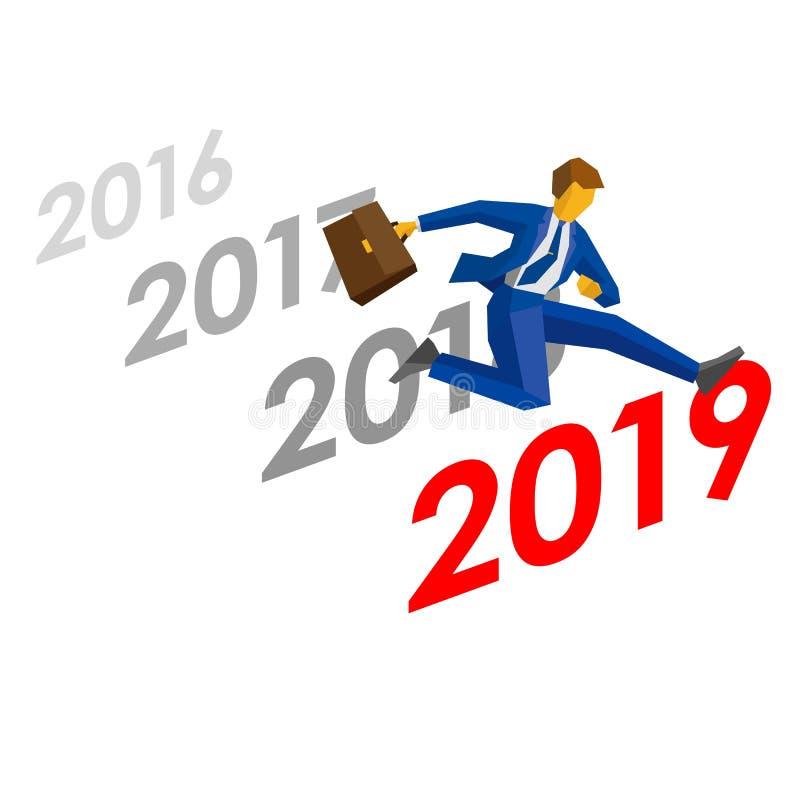 Zakenmansprong meer dan nummer 2019 vector illustratie
