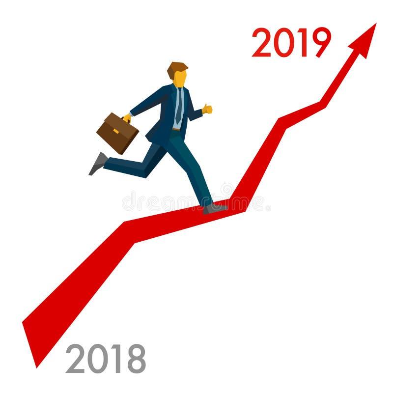 Zakenmansprong meer dan nummer 2019 stock illustratie