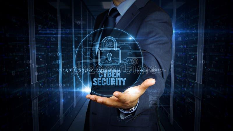 Zakenmantouch screen met het hologram van de cyberveiligheid royalty-vrije stock afbeelding