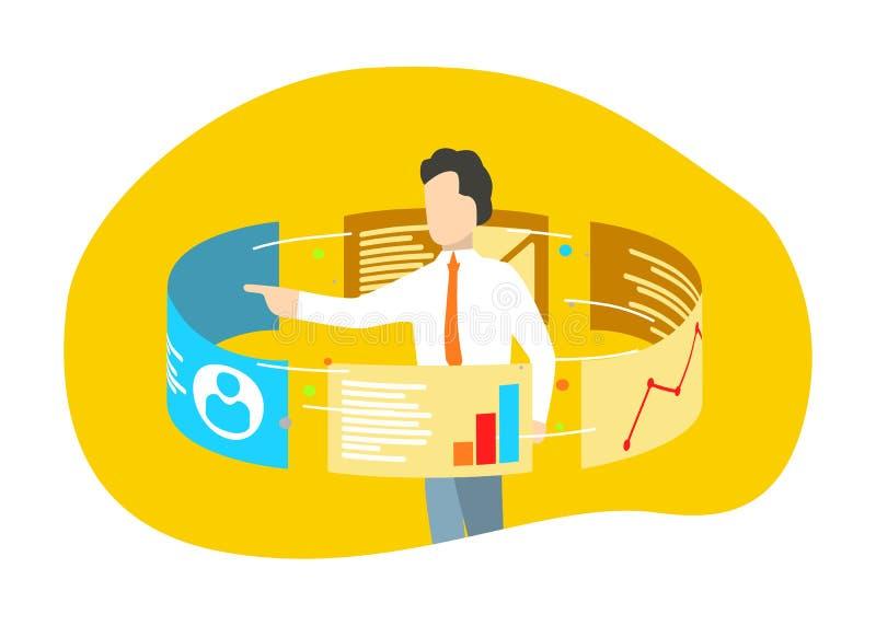 Zakenmantribune rond de monitors van het aanrakingsscherm Gegevensanalytics en van Webtechnologieën concept vector illustratie
