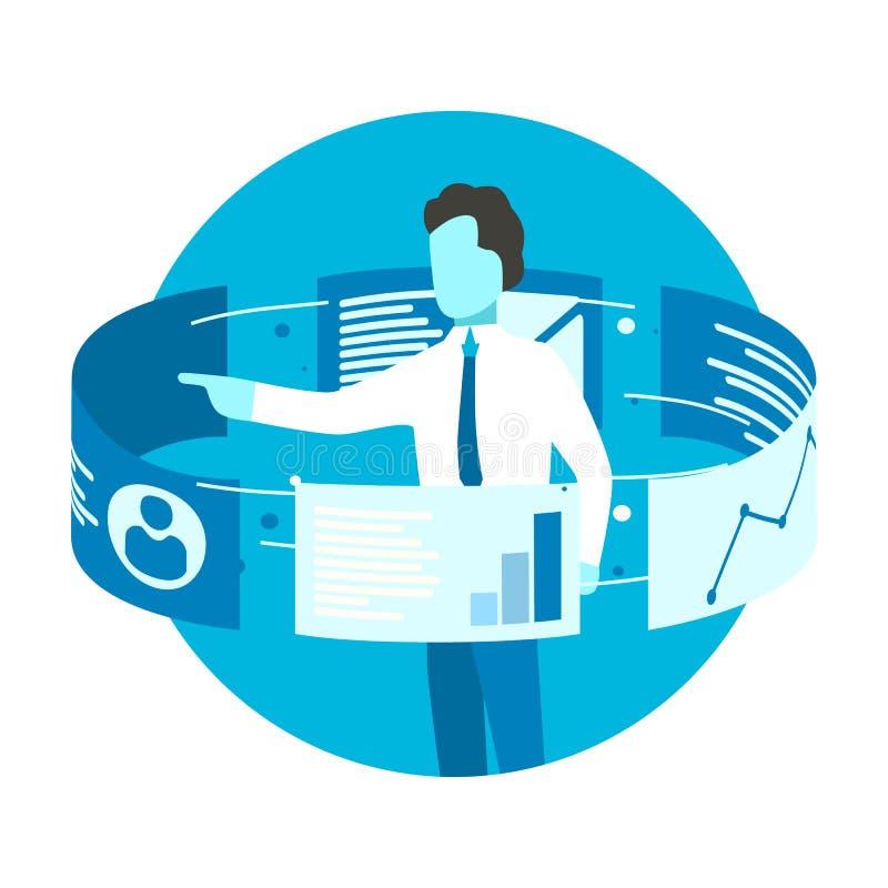 Zakenmantribune rond de monitors van het aanrakingsscherm Gegevensanalytics en van Webtechnologieën concept royalty-vrije illustratie