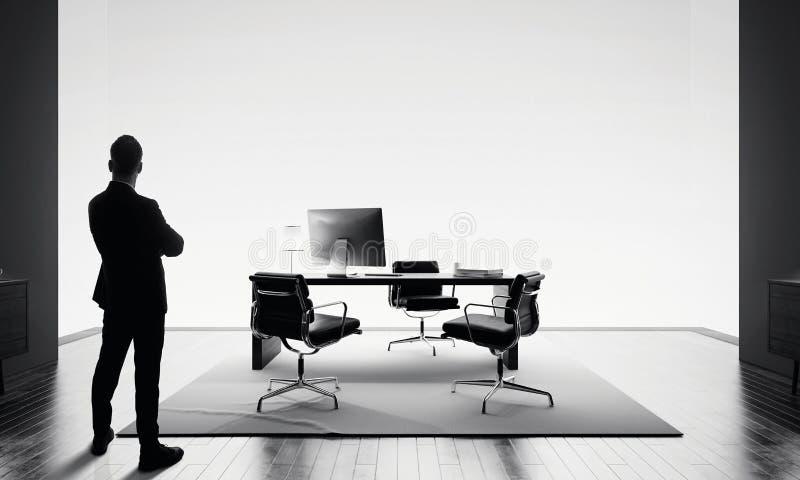 Zakenmantribunes in modern bureau en het bekijken horizon BW stock foto's