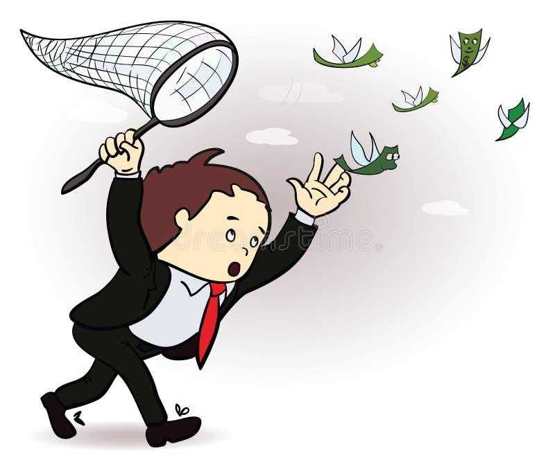 Zakenmanvangst een geldillustratie Manager royalty-vrije illustratie