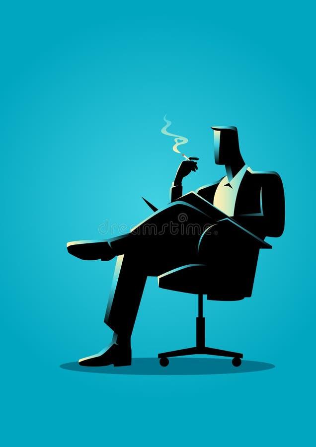Zakenmanzitting en lezing op een stoel terwijl het roken stock illustratie