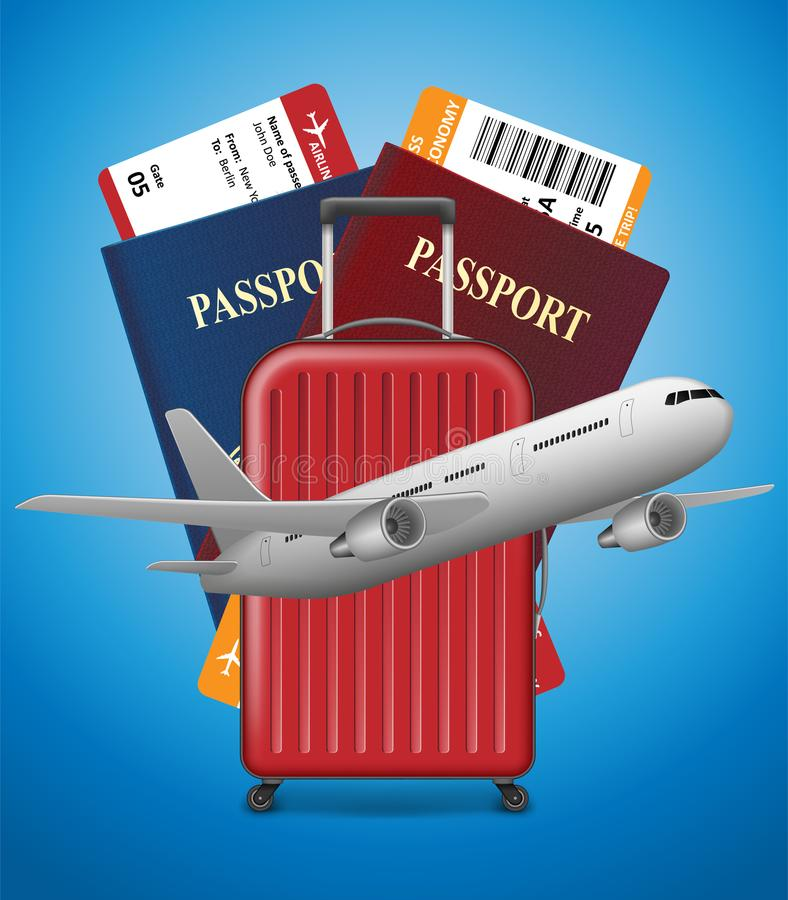 Zakenreisbanner met Paspoort, kaartjes, vliegtuig en koffer op blauwe achtergrond Het internationale concept van de luchtreis stock illustratie