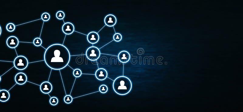 Zakenrelatie en sociaal netwerk op donkerblauwe achtergrond royalty-vrije illustratie