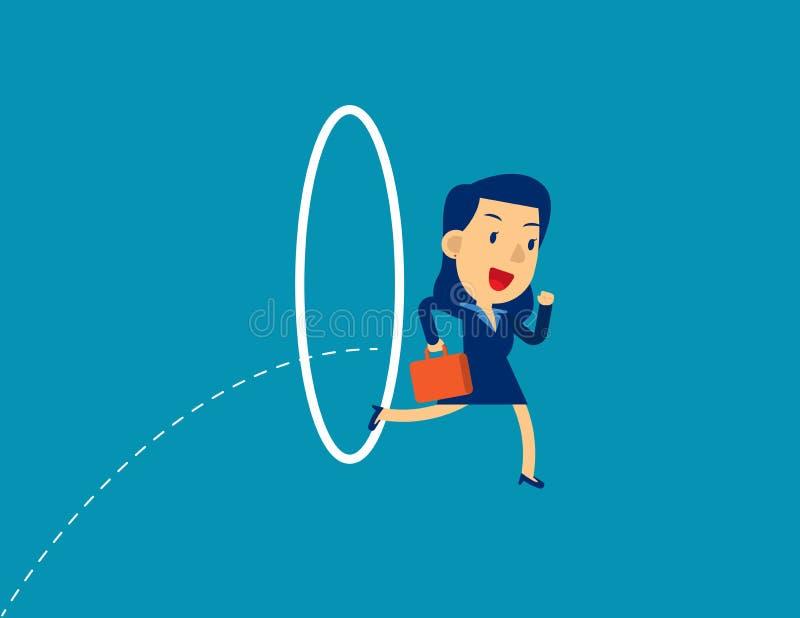 Zakenvrouw die door een hoepel springt De vectorillustratie van het concept, Inspanning, Circle royalty-vrije illustratie