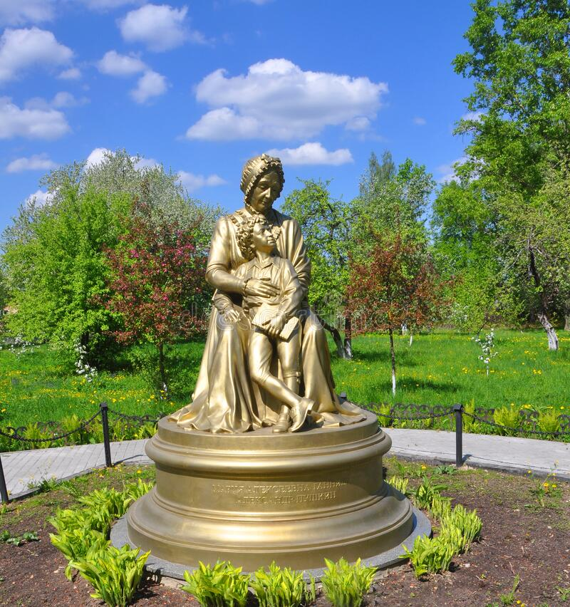 ZAKHAROVO MANOR, RUSSIA - MAY 15, 2016: Monument to M.A. Hannibal and the young poet A.S. Pushkin royalty free stock images