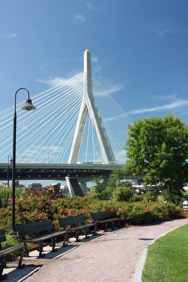 Zakim Bridge from Park stock photos