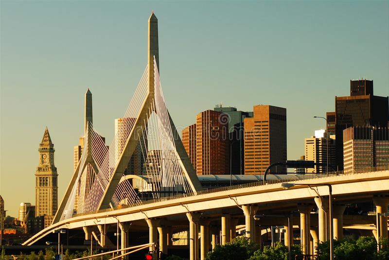 Zakim most, Boston fotografia stock