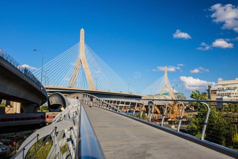 Zakim most z blus niebem w Boston fotografia royalty free