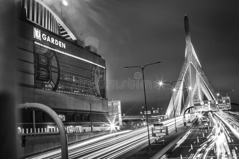 Zakim. Night Black and, bridge, longexposure royalty free stock photography