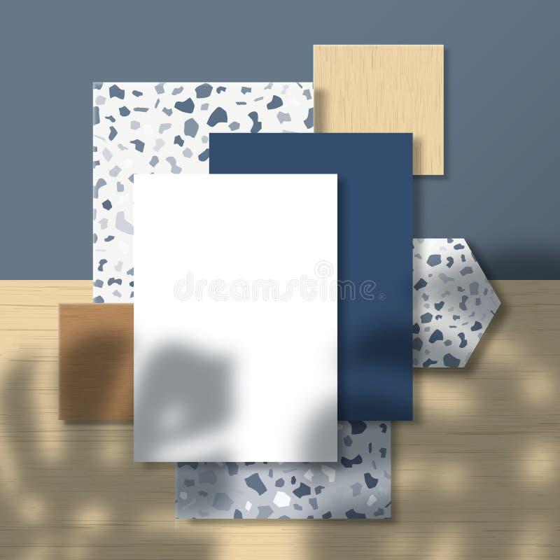 Zakkaarten en flyer op Terrazzo Pattern and Wood Tiles Background met een tropisch monstera Palm Leaves Shadow vector illustratie