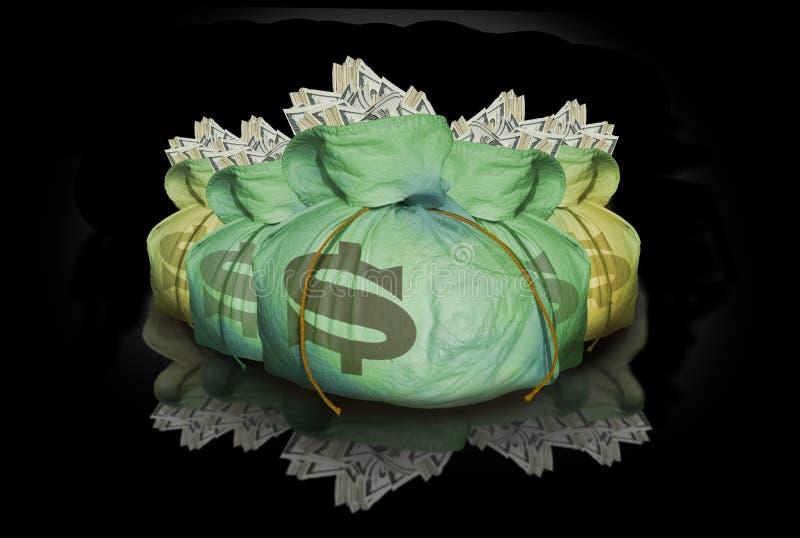 Zakken geld met bezinning royalty-vrije stock afbeelding