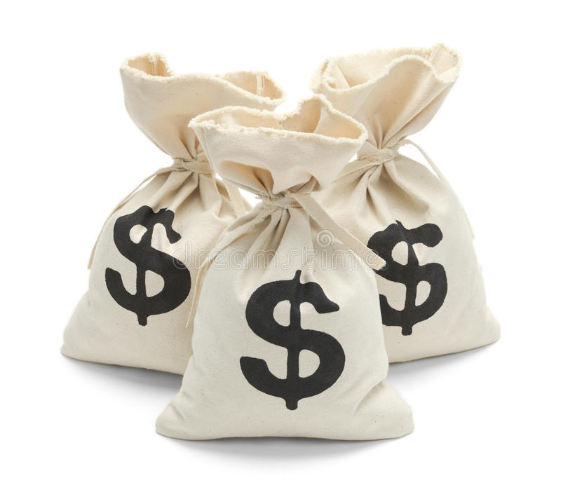 Zakken geld met bezinning royalty-vrije stock foto's