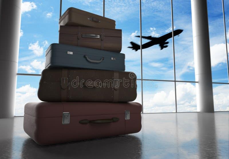Zakken in luchthaven stock foto
