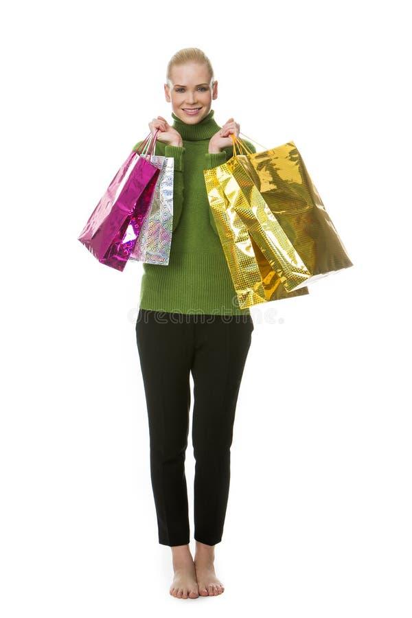 Zakken van de vrouwen de dragende gift stock afbeeldingen