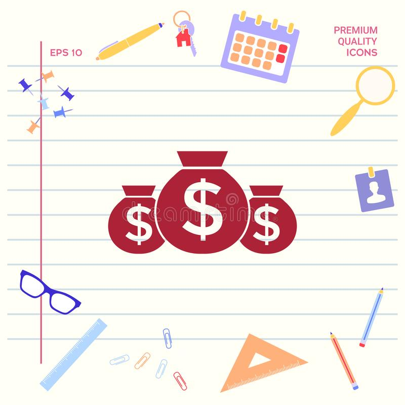 Zakken van geldpictogram met dollarsymbool vector illustratie