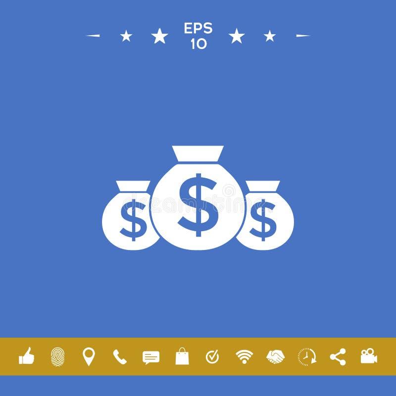 Zakken van geldpictogram met dollarsymbool royalty-vrije illustratie