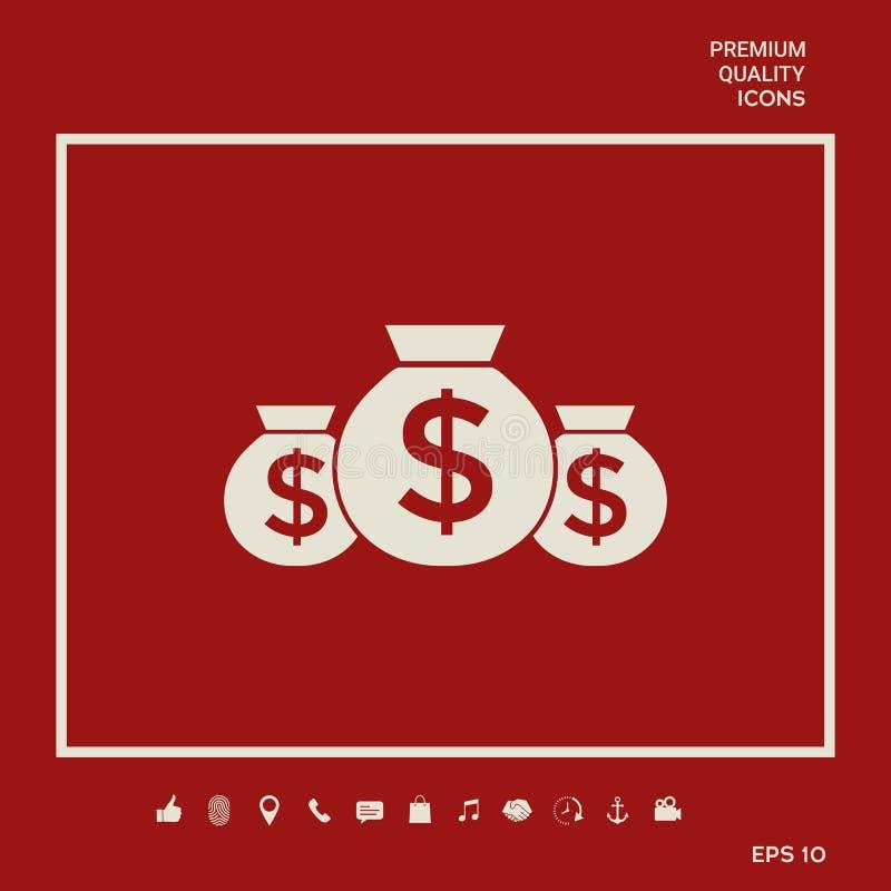 Zakken van geldpictogram met dollarsymbool Grafische elementen voor uw ontwerp vector illustratie