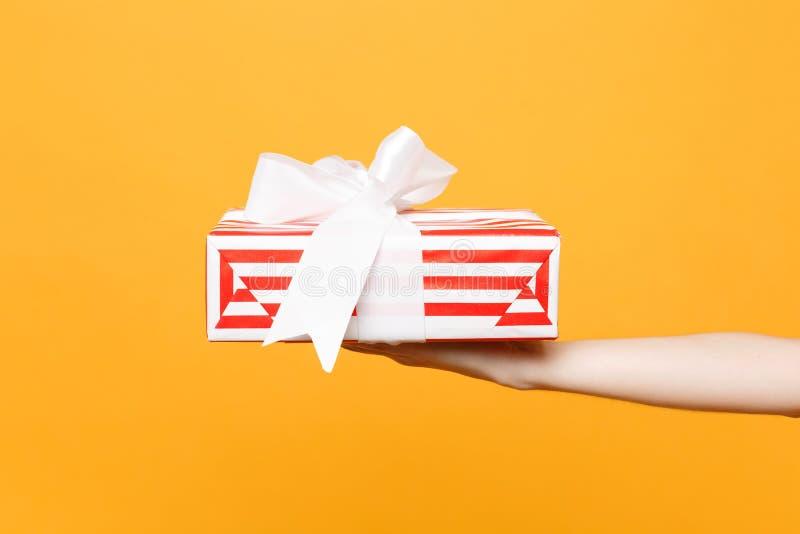 Zakończenie w górę żeńskiego chwyta w ręka prezenta czerwonym białym pasiastym teraźniejszym pudełku z tasiemkowym łękiem odizolo obrazy royalty free