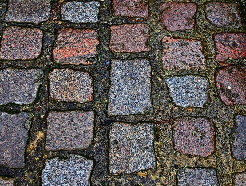 Zakończenie w górę widoku inne perspektywy na brukowiec ziemi powierzchniach brać na północnych Germany ulicach fotografia stock