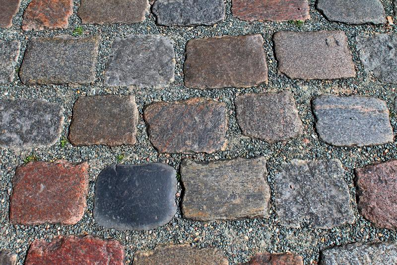 Zakończenie w górę widoku inne perspektywy na brukowiec ziemi powierzchniach brać na północnych Germany ulicach obrazy stock