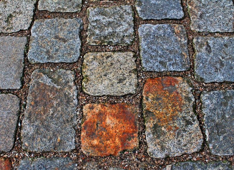 Zakończenie w górę widoku inne perspektywy na brukowiec ziemi powierzchniach brać na północnych Germany ulicach obrazy royalty free