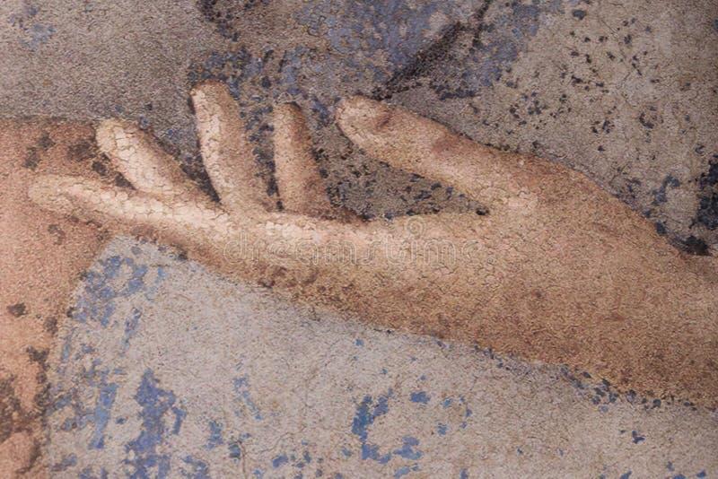 Zakończenie w górę widoku szczegół patroszona ręka, grafika na kanwie ilustracja wektor