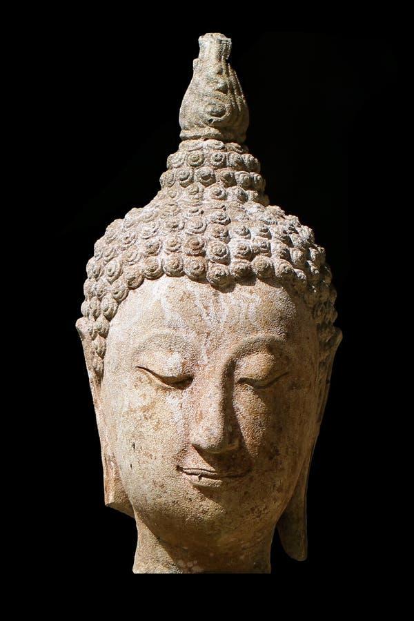 Zakończenia 400 lat antyczna głowa kamienia Buddha statua przy dziejowym muzealnym Tajlandia, sztuka wykonuje ręcznie rzeźbę odiz obrazy stock