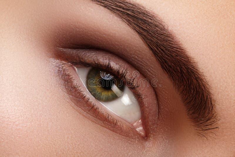 Zakończenia makro- piękny żeński oko z perfect kształt brwiami Czysta skóra, fasonuje naturalnego dymiącego makijaż Dobry wzrok fotografia stock