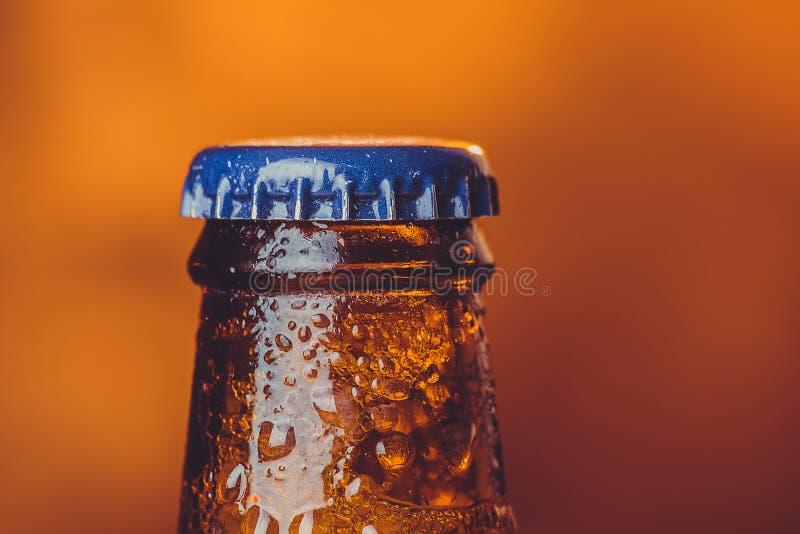 Zakończenie świeżego zimnego piwa ale pojedyncza butelka z kroplami i sto zdjęcie stock