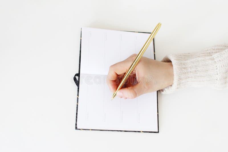Zakończenie żeńskie ręki w pulowerze trzyma złotego balpoint pióro i pisze na otwartym notatniku na bielu stołu tle obraz stock