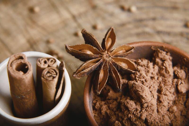 Zakończenie anyżu gwiazda, kakaowy proszek, cynamonowi kije na drewnianym tle, makro- obraz royalty free
