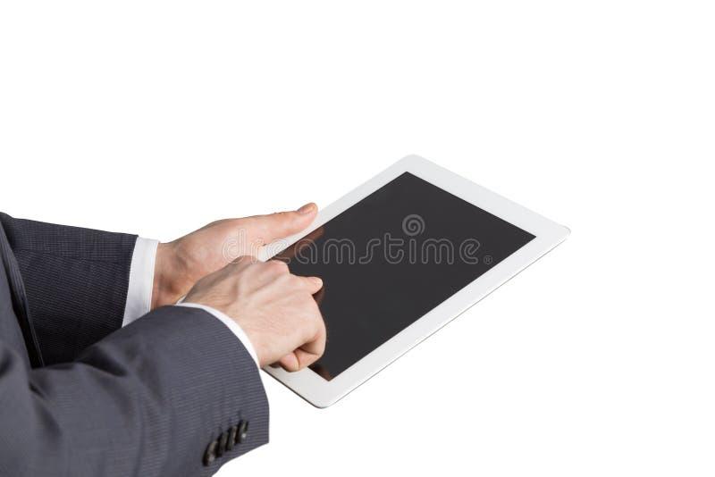 Zakończenie boczny widok biznesmena ręki Wyszukiwać w internecie zdjęcia royalty free