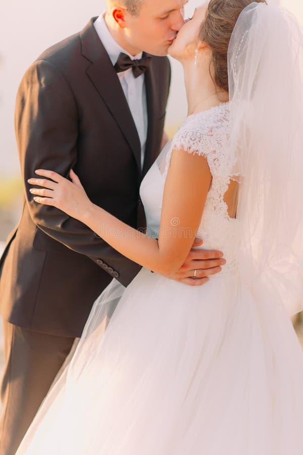 Zakończenie boczny widok całowanie nowożeńcy elegancka para obrazy stock