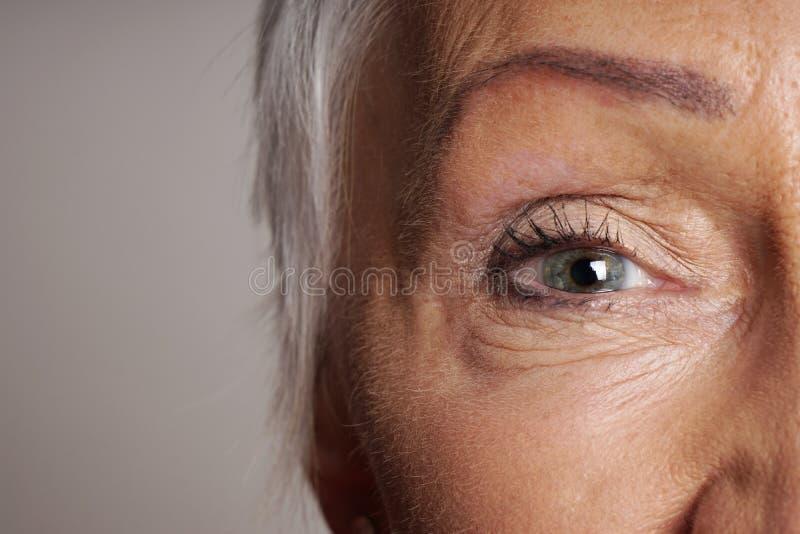 Zakończenie dojrzała kobieta z zielonymi oczami obraz royalty free