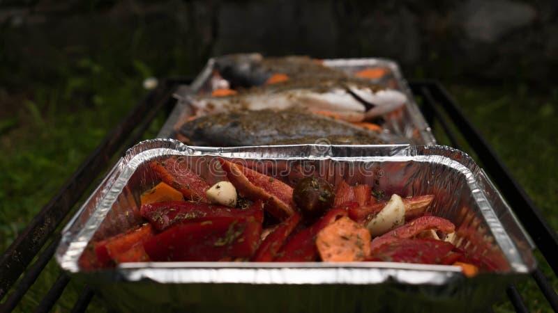 Zakończenie Dorado z pikantność i warzywami zdjęcia stock