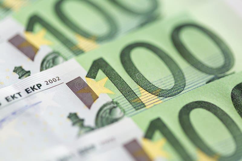 Zakończenie 100 Euro banknotów obrazy royalty free