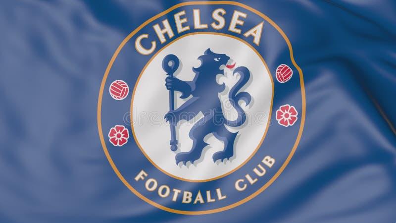 Zakończenie falowanie flaga z Chelsea F C Futbolu świetlicowy logo zdjęcie stock