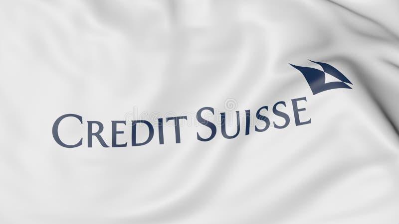 Zakończenie falowanie flaga z Credit Suisse grupy logem, redakcyjny 3D rendering ilustracji