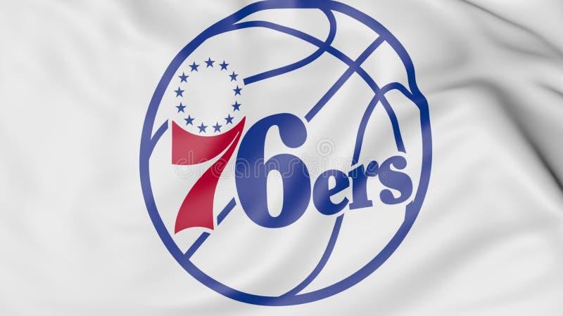 Zakończenie falowanie flaga z Filadelfia 76ers NBA drużyny koszykarskiej logem, 3D rendering ilustracji