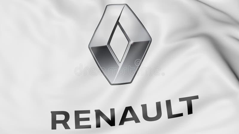 Zakończenie falowanie flaga z Groupe Renault logem, redakcyjny 3D rendering royalty ilustracja