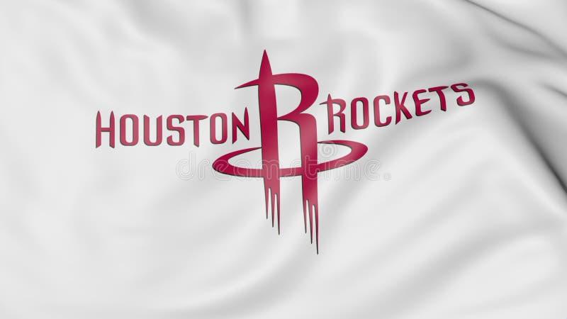 Zakończenie falowanie flaga z Houston Podskakuje NBA drużyny koszykarskiej loga, 3D rendering ilustracji