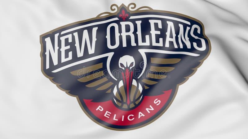 Zakończenie falowanie flaga z Nowy Orlean pelikanów NBA drużyny koszykarskiej logem, 3D rendering royalty ilustracja